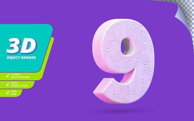Numéro neuf, numéro 9 en rendu 3d isolé avec illustration de conception abstraite topographique blanche texture ondulée