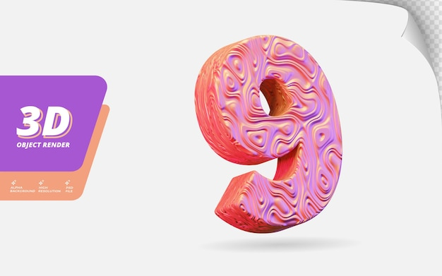 Numéro neuf, numéro 9 en rendu 3d isolé avec illustration de conception abstraite topographique en or rose texture ondulée