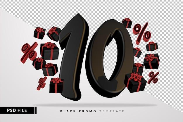 Numéro noir 10 black friday bannière 3d avec des coffrets cadeaux sombres