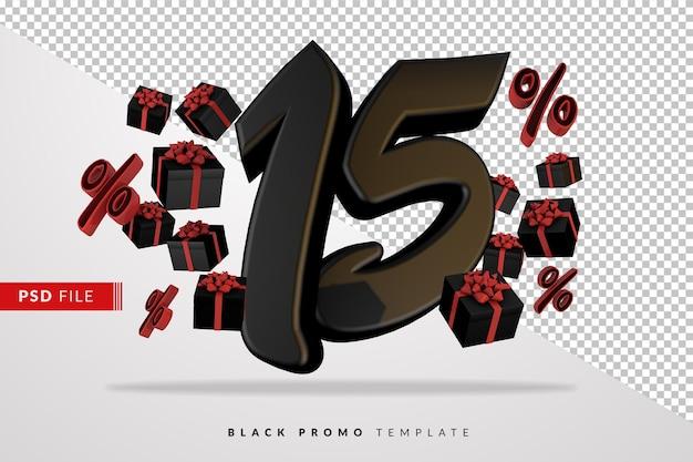 Numéro noir 15 black friday banner 3d avec des coffrets cadeaux sombres