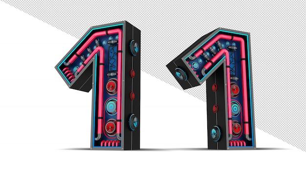 Numéro noir avec illustration de rendu 3d lumière néon rouge et bleu.