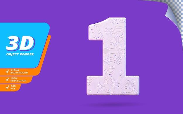 Numéro un, numéro 1 en rendu 3d isolé avec illustration de conception abstraite topographique blanche texture ondulée