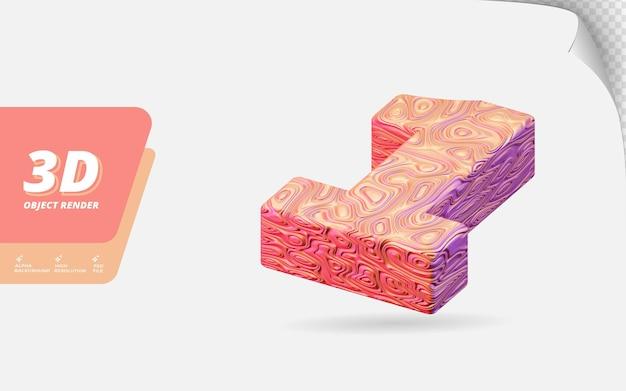Numéro un, numéro 1 en rendu 3d isolé avec illustration de conception abstraite topographique en or rose texture ondulée