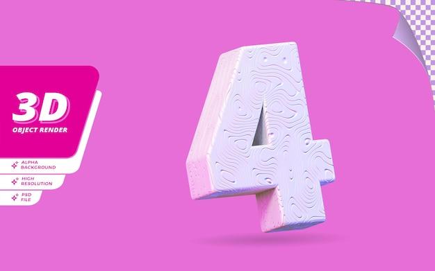 Numéro quatre, numéro 4 en rendu 3d isolé avec illustration de conception abstraite topographique blanche texture ondulée