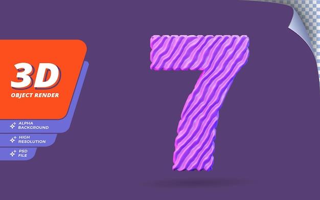 Numéro sept, numéro 7 en rendu 3d isolé avec illustration abstraite de conception de texture de fil violet topographique