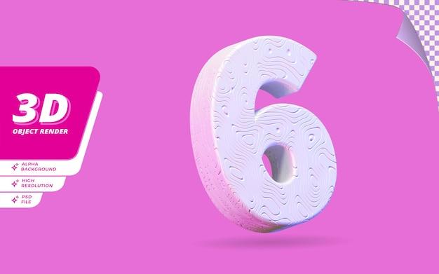Numéro six, numéro 6 en rendu 3d isolé avec illustration de conception abstraite topographique blanche texture ondulée