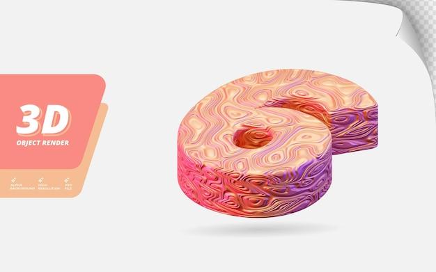 Numéro six, numéro 6 en rendu 3d isolé avec illustration de conception abstraite topographique en or rose texture ondulée
