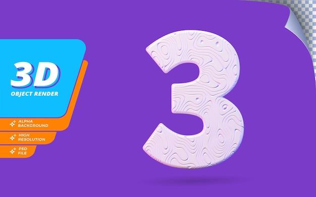 Numéro trois, numéro 3 en rendu 3d isolé avec illustration de conception abstraite topographique blanche texture ondulée