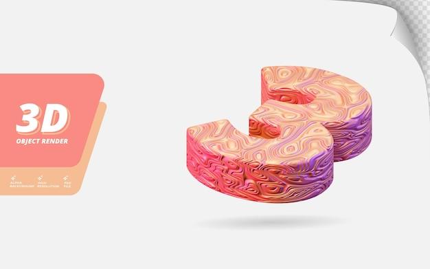 Numéro trois, numéro 3 en rendu 3d isolé avec illustration de conception abstraite topographique en or rose texture ondulée