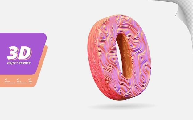 Numéro zéro, numéro 0 en rendu 3d isolé avec illustration de conception abstraite topographique en or rose texture ondulée