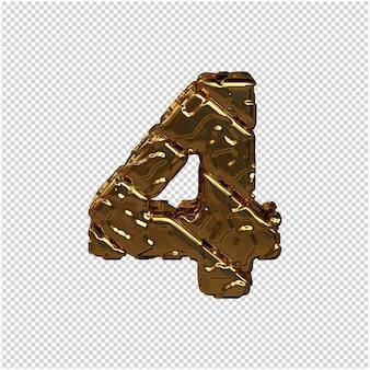 Numéros d'or fabriqués à partir de blocs diagonaux rugueux. vue d'en-haut. 3d numéro 4