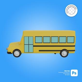 Objet 3d classique de vue latérale d'autobus scolaire
