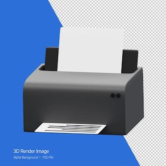 Objet 3d rendu de l'icône de l'imprimante isolé sur blanc.