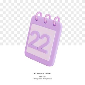 Objet icône de calendrier 3d 22 jours rendu