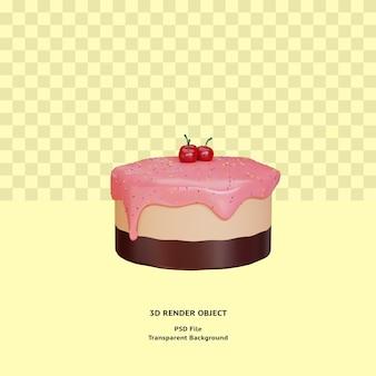 Objet illustratin de gâteau 3d rendu psd premium
