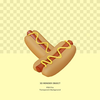 Objet illustratin de hot-dog 3d rendu psd premium
