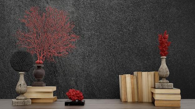Objets décoratifs, vieux livres et vases sur mur noir, style japonais.