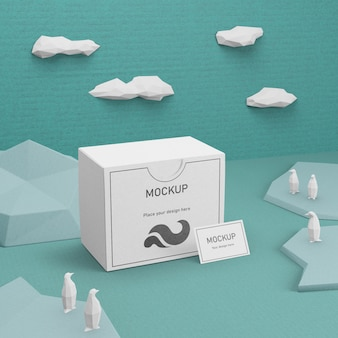 Ocean life sea life et boîte en carton avec maquette