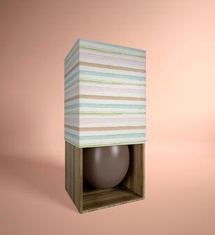 Oeuf en chocolat à angle élevé dans une boîte