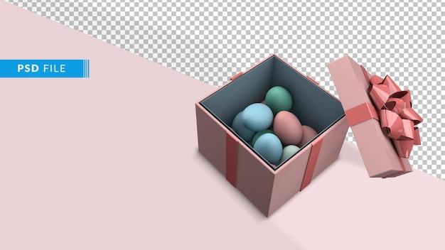 Oeufs de pâques et boîte-cadeau de rendu 3d