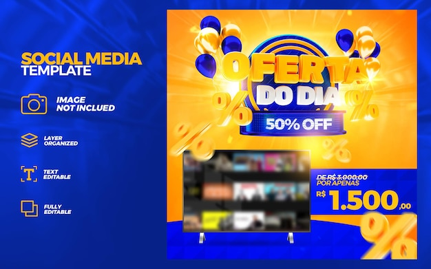 Offre de bannière de campagne d'étiquette de marché du jour rendu 3d de 50 pour cent