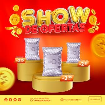 Offre d'exposition de bannière au brésil, rendu de la conception de modèles 3d