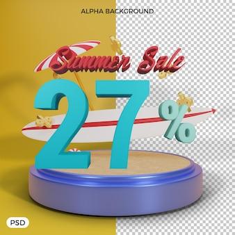 Offre de remise d'été de 27 pour cent rendu 3d