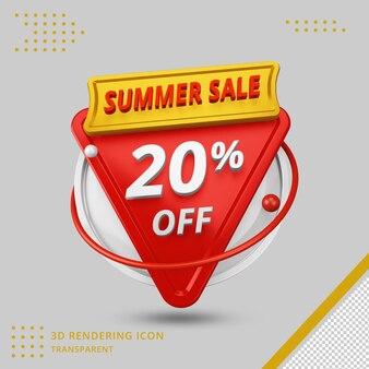 Offre de remise d'été 3d de 20 pour cent en rendu 3d isolé