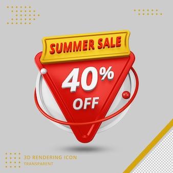 Offre de remise d'été 3d de 40 pour cent en rendu 3d isolé