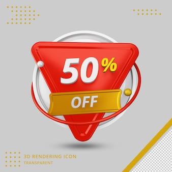 Offre de remise d'été 3d de 50 pour cent en rendu 3d isolé