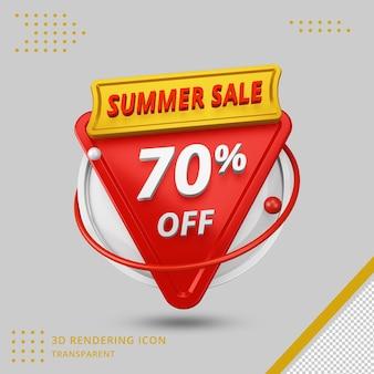 Offre de remise d'été 3d de 70 pour cent en rendu 3d isolé