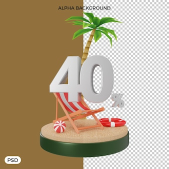 Offre de remise d'été de 40 pour cent rendu 3d