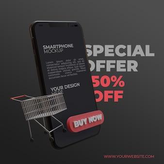 Offre spéciale 3d avec maquette d'écran de smartphone