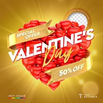 Offre spéciale de la bannière 3d de la saint-valentin avec 50% de réduction