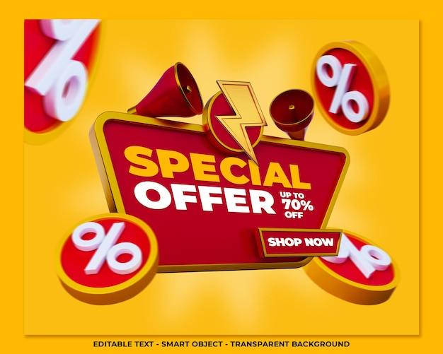 Offre spéciale bannière promotion 3d publication sur les médias sociaux