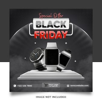 Offre spéciale black friday watch collection social media post template banner