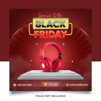 Offre spéciale collection de casques black friday, bannière de modèle de publication sur les médias sociaux