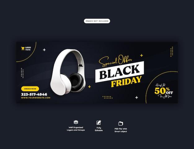Offre spéciale modèle de bannière de couverture facebook vendredi noir