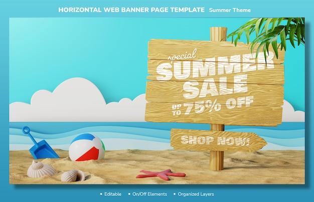 Offre de vente d'été sur un modèle de conception modifiable de page de bannière web de planche de bois avec des éléments 3d de plage