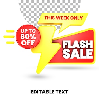 Offre de vente flash texte modifiable avec boîte cadeau surprise rouge et jaune rendu 3d isolé