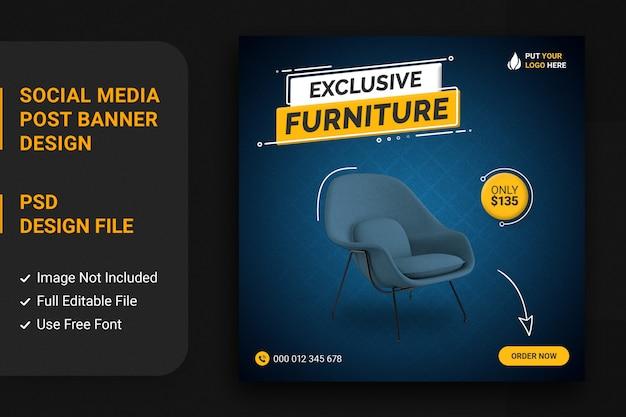 Offre de vente de meubles pour le modèle de bannière de publication de médias sociaux