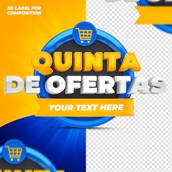 Offres du jour avec podium bleu pour les campagnes brésiliennes rendu 3d