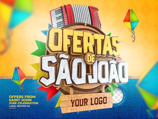Offres d'étiquettes de sao joao 3d rendent le brésil réaliste