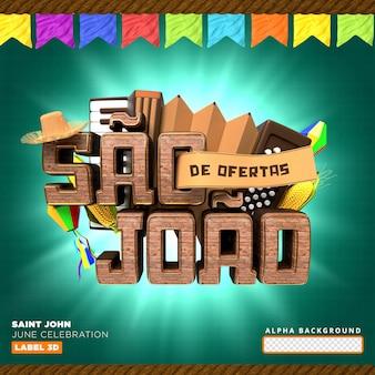Offres d'étiquettes de sao joao rendu 3d du brésil réaliste