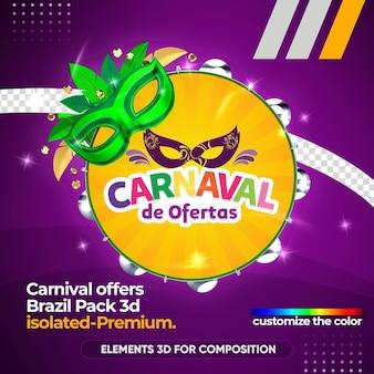 Offres logo de carnaval dans le rendu 3d