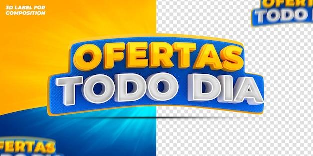 Offres de médias sociaux tous les jours pour le rendu 3d de la campagne brésilienne