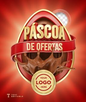 Offres de pâques au brésil 3d render chocolat rouge