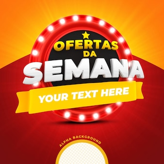 Offres de la semaine avec podium rouge et lumières pour le rendu 3d des campagnes brésiliennes