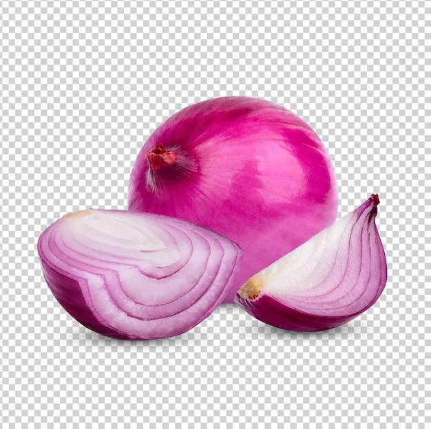 Oignon rouge frais isolé premiun psd