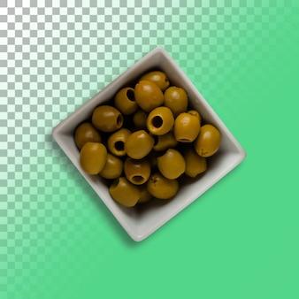 Olives fraîches dans un bol sur fond transparent.